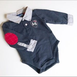 Andy & Evan Other - Andy and Even navy Collared onesie