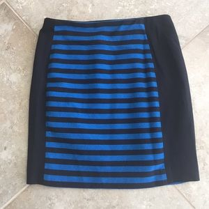 Ann Taylor blue and black striped pencil skirt