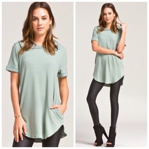 Sage French Terry Hoodie Tunic Top S M L