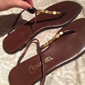 Chanel Leather Flip Flops 40.5 or 9