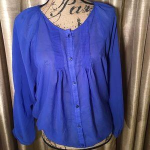 Beautiful Royal Blue Sheer Blouse