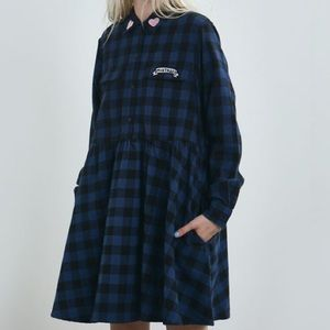Lazy Oaf Dresses & Skirts - NWT LAZY OAF MISTAKES FLANNEL DRESS
