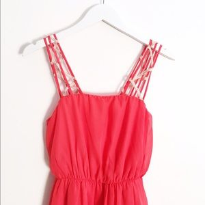 Luxe Coral Hi-Low Dress
