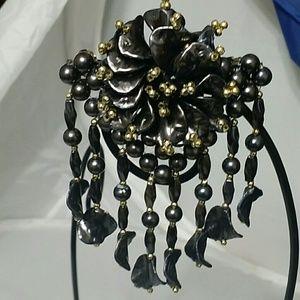 Fancy Dangle Bead Hair Barrette