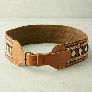 ANTHROPOLOGIE Sagada belt leather beaded NWT