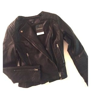 Topshop Jackets & Blazers - Topshop black vegan leather jacket
