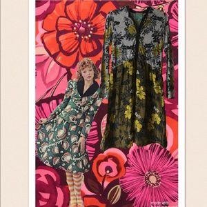 Johnny Was, Chartreuse, Grey & Black Floral Dress