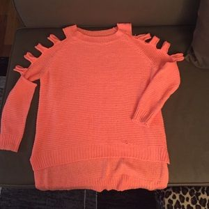 Sweaters - Open knit cold shoulder sweater