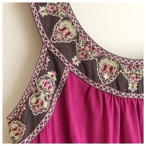 Anthropologie Tops - Anthro Magenta Embroidered Top