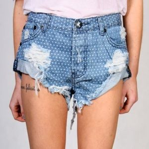 One Teaspoon Pants - One Teaspoon Bandit Polka Dot Jean Shorts