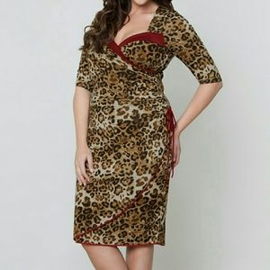 Kiyonna Dresses & Skirts - Kiyonna 5X Portia Pin Up Animal Print Wrap Dress