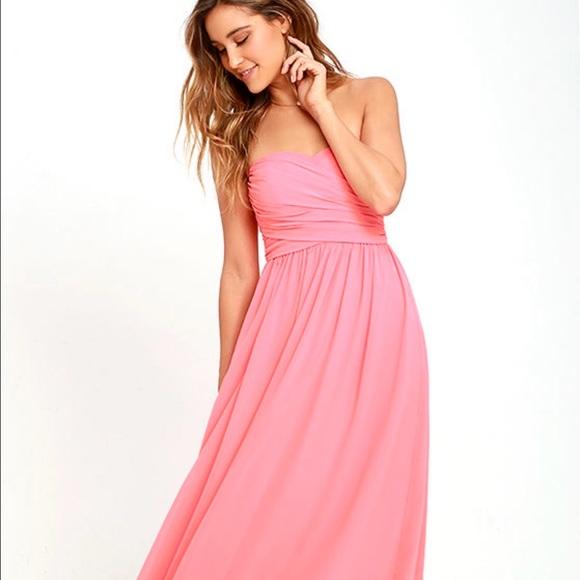 bf6fd9d1f65e Lulu's Dresses | Lulu Coral Pink Strapless Maxi Dress Prom | Poshmark