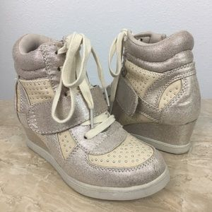 Girl's Gold Wedge Sneakers