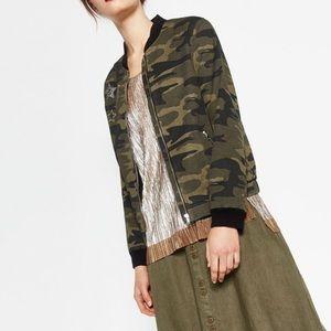 Zara army bomber jacket szM