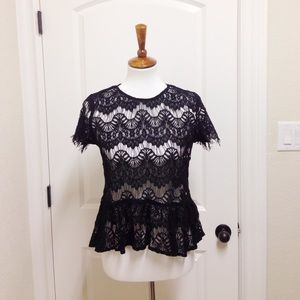 Tops - NWT Lace peplum top (dusty rose or black)