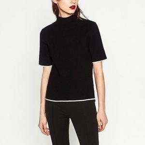 Zara black turtleneck black sweater szM