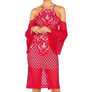 Bardot Dresses & Skirts - 🆕 Bardot Red Lace Dress Bell Sleeve Shoulder XS