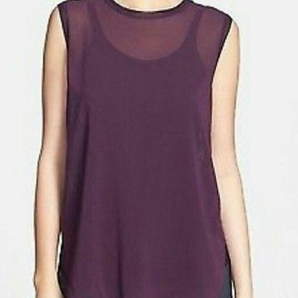6d4f719f503c45 VINCE Plum Purple Sheer Silk Sleeveless Top M. M 587ec013bf6df5d3d9007198