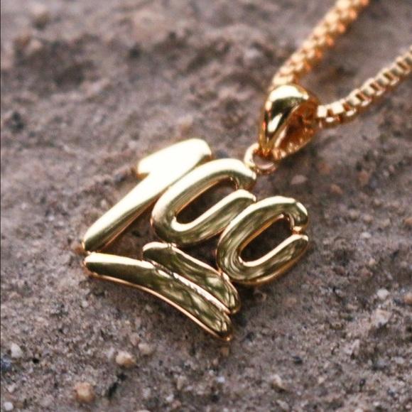 3a909c4316116 18k Gold Plated 100 Emoji Pendant Charm Necklace Boutique