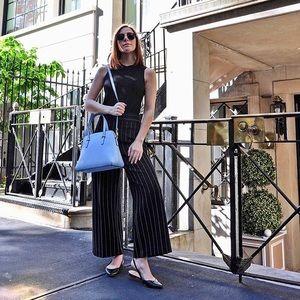 Zara Wide Leg Striped Cropped Pants