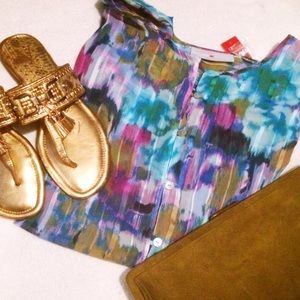 NWT Avenue Watercolor Striped Blouse Set
