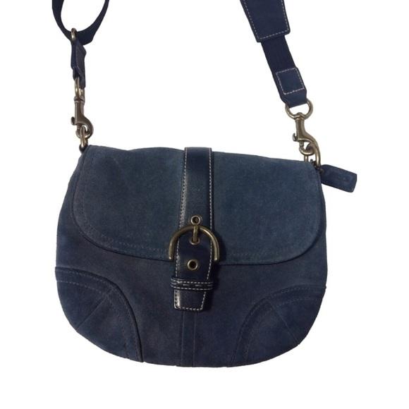 83% off Coach Handbags - NWT navy blue suede coach purse ❌SOLD ...