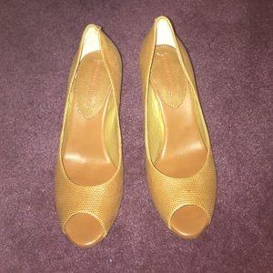 Brown peep toe heels