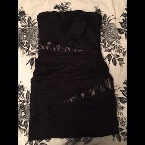 Express black rouched/lace tube top dress