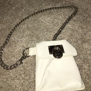 White Michael Kors chained fanny pack/ phone case