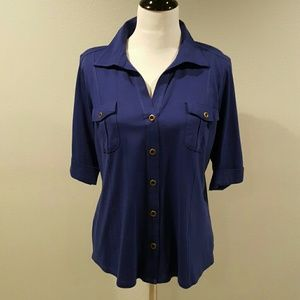 Style & Co Tops - Style & Co Blue Button Front Top