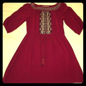 Flying Tomato Boho Embroidered Peasant Dress