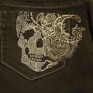 Guess Skull Jet Black Straight Jeans Size 27