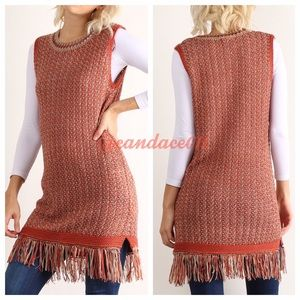 CC Boutique Tops - ❤️SALE!❤️ Sleeveless Knit Fringed Sweater Tunic