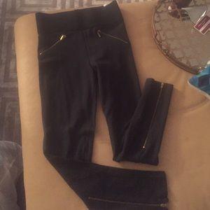 Zara pants leggings with gold zippers