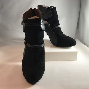 Black suede and leather bootie