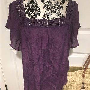 Cable & Gauge Sheer Purple Top