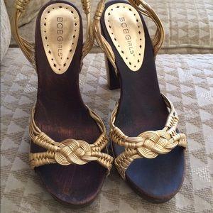 BCBGirls Gold Strappy Wooden Heel Sandals