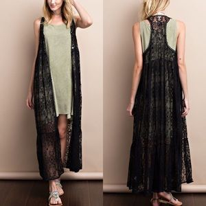Sweaters - All Over Lace Maxi Cardigan- BLACK