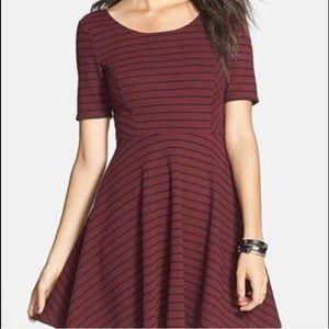 Lush striped maroon and black skater dress