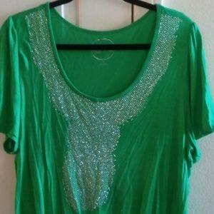 INC Woman Green Studded Top