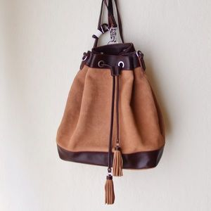 J. Crew Handbags - Suede/Leather Bucket Backpack