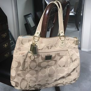 Beige and gold COACH handbag