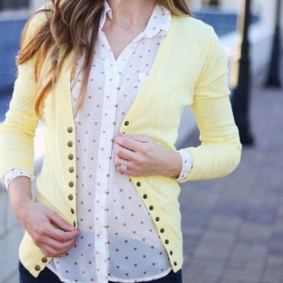 60% off Color Story Sweaters - Color Story Light Yellow Button Up ...