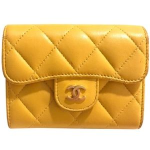 Yellow Chanel Quilted Leather Wallet