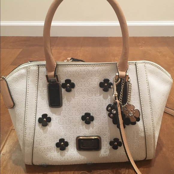 Guess Handbags - Spring White Guess Purse with Black Flowers