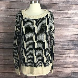 Sparkle & Fade Sweater Cable Knit Black Cream