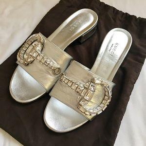 Gucci Silver Slides size 36