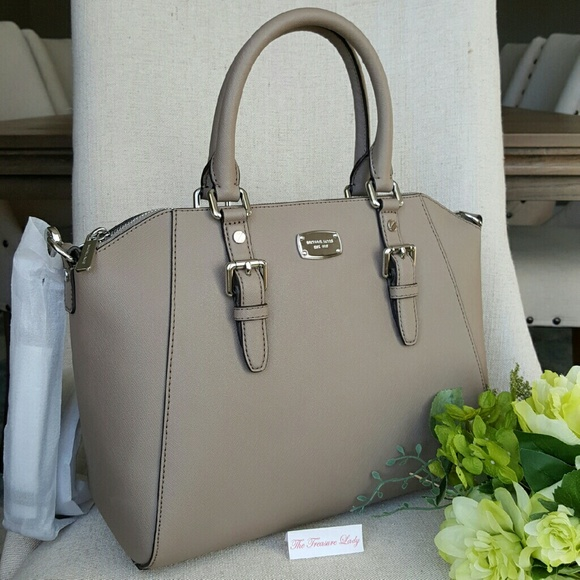 Michael Kors Ciara satchel taupe purse bag handbag NWT