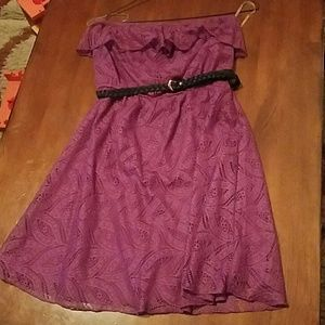 Maurices strapless lace dress with belt size M