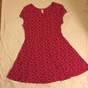 No Boundaries Dresses & Skirts - Hot Pink Skater Dress w/ black Heart Design